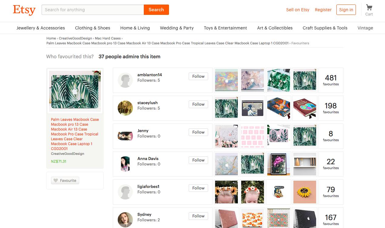 Esempio di filtri social sul sito web di vendita al dettaglio