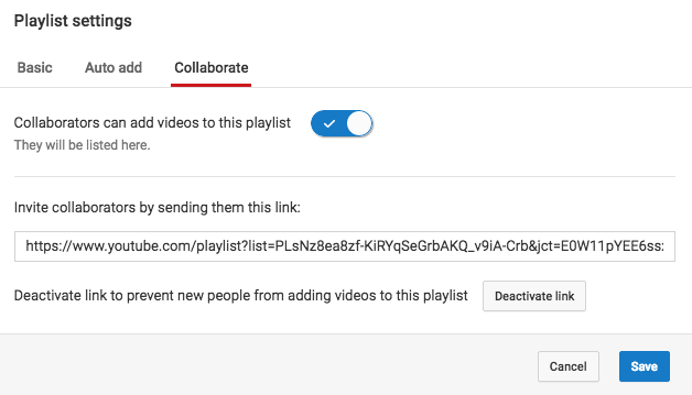 "Impostazione della playlist collaborativa di YouTube. ""Width ="" 628 ""title ="" Impostazione della playlist collaborativa di YouTube. ""Caption ="" false ""data-constrained ="" true ""style ="" width: 628px; ""srcset ="" https: //blog.hubspot .com / hs-fs / hubfs / youtube-collaborate-playlist.png? t = 1542772607057 & width = 314 & name = youtube-collaborate-playlist.png 314w, https://blog.hubspot.com/hs-fs/hubfs/youtube- collaborate-playlist.png? t = 1542772607057 & width = 628 & name = youtube-collaborate-playlist.png 628w, https://blog.hubspot.com/hs-fs/hubfs/youtube-collaborate-playlist.png?t=1542772607057&width=942&name = youtube-collaborate-playlist.png 942w, https://blog.hubspot.com/hs-fs/hubfs/youtube-collaborate-playlist.png?t=1542772607057&width=1256&name=youtube-collaborate-playlist.png 1256w, https : //blog.hubspot.com/hs-fs/hubfs/youtube-collaborate-playlist.png? t = 1542772607057 & width = 1570 & name = youtube-collaborate-playlist.png 1570w, https://blog.hubspot.com/hs- fs / hubfs / youtube-Collaborare-playlist.png? t = 1542772607057 & width = 1884 & name = youtube-Collaborare-playlis t.png 1884w ""sizes ="" (larghezza massima: 628 px) 100vw, 628 px"