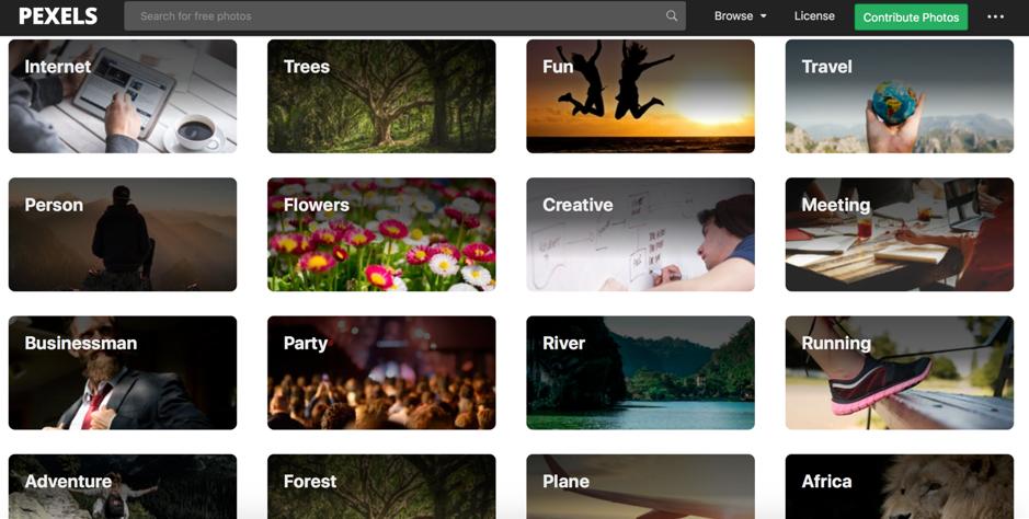 Homepage di Pexels