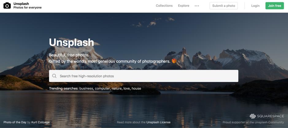 Home page di Unsplash