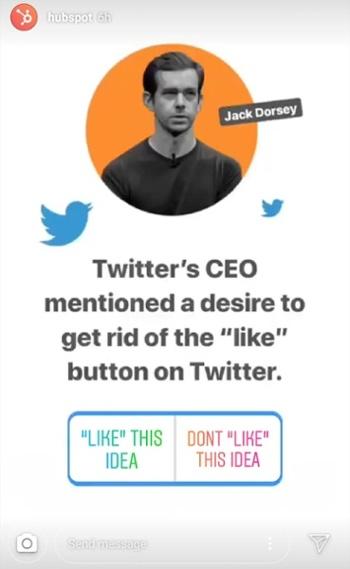 "Instagram Story di HubSpot ultime notizie sul CEO di Twitter Jack Dorsey con adesivo elettorale ""width ="" 350 ""style ="" width: 350px; blocco di visualizzazione; margin-left: auto; margin-right: auto; ""srcset ="" https://blog.hubspot.com/hs-fs/hubfs/hubspot-instagram-stories-news-break.jpg?t=1543306004115&width=175&name=hubspot-instagram-stories- news-break.jpg 175w, https://blog.hubspot.com/hs-fs/hubfs/hubspot-instagram-stories-news-break.jpg?t=1543306004115&width=350&name=hubspot-instagram-stories-news-break .jpg 350w, https://blog.hubspot.com/hs-fs/hubfs/hubspot-instagram-stories-news-break.jpg?t=1543306004115&width=525&name=hubspot-instagram-stories-news-break.jpg 525w , https://blog.hubspot.com/hs-fs/hubfs/hubspot-instagram-stories-news-break.jpg?t=1543306004115&width=700&name=hubspot-instagram-stories-news-break.jpg 700w, https: //blog.hubspot.com/hs-fs/hubfs/hubspot-instagram-stories-news-break.jpg?t=1543306004115&width=875&name=hubspot-instagram-stories-news-break.jpg 875w, https: // blog .hubspot.com / hs-fs / hubfs / hubspot-instagram-stories-news-break.jpg? t = 1543306004115 & width = 1050 & name = hubspot-instagram-stories-news-break.jpg 1050w ""sizes ="" (larghezza massima: 350px) 100vw, 350px"