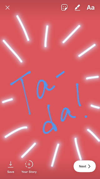 "Instagram Story drawing that reads ""Ta-da!"" with a blue pen and red background"" srcset=""https://blog.hubspot.com/hs-fs/hubfs/penoptions2.png?t=1543306004115&width=160&name=penoptions2.png 160w, https://blog.hubspot.com/hs-fs/hubfs/penoptions2.png?t=1543306004115&width=320&name=penoptions2.png 320w, https://blog.hubspot.com/hs-fs/hubfs/penoptions2.png?t=1543306004115&width=480&name=penoptions2.png 480w, https://blog.hubspot.com/hs-fs/hubfs/penoptions2.png?t=1543306004115&width=640&name=penoptions2.png 640w, https://blog.hubspot.com/hs-fs/hubfs/penoptions2.png?t=1543306004115&width=800&name=penoptions2.png 800w, https://blog.hubspot.com/hs-fs/hubfs/penoptions2.png?t=1543306004115&width=960&name=penoptions2.png 960w"" sizes=""(max-width: 320px) 100vw, 320px"