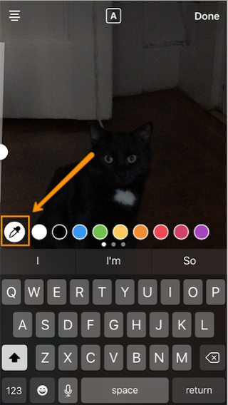 "Dropper icon to change custom color of Instagram Story text"" width=""320"" style=""display: block; margin-left: auto; margin-right: auto; width: 320px;"" srcset=""https://blog.hubspot.com/hs-fs/hubfs/dropper1.png?t=1543306004115&width=160&name=dropper1.png 160w, https://blog.hubspot.com/hs-fs/hubfs/dropper1.png?t=1543306004115&width=320&name=dropper1.png 320w, https://blog.hubspot.com/hs-fs/hubfs/dropper1.png?t=1543306004115&width=480&name=dropper1.png 480w, https://blog.hubspot.com/hs-fs/hubfs/dropper1.png?t=1543306004115&width=640&name=dropper1.png 640w, https://blog.hubspot.com/hs-fs/hubfs/dropper1.png?t=1543306004115&width=800&name=dropper1.png 800w, https://blog.hubspot.com/hs-fs/hubfs/dropper1.png?t=1543306004115&width=960&name=dropper1.png 960w"" sizes=""(max-width: 320px) 100vw, 320px"