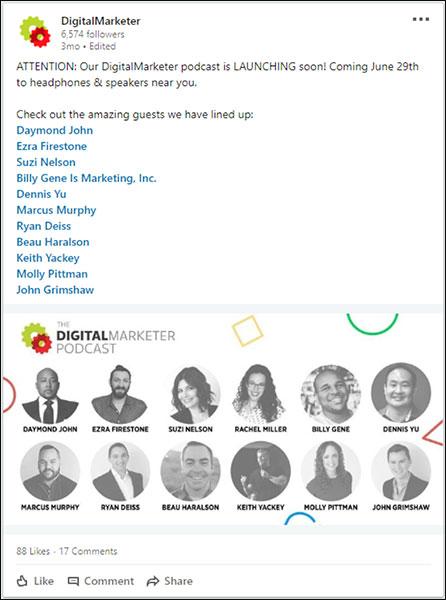 un'immagine del post utilizzato per il lancio di The DigitalMarketer Podcast