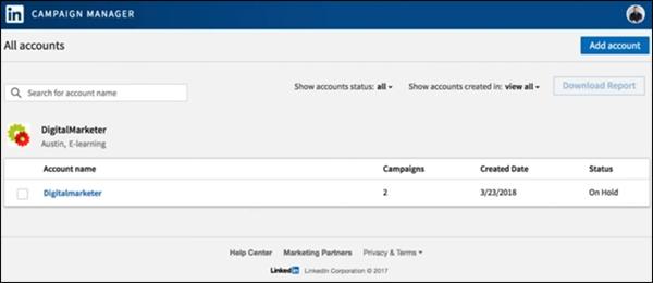 scegliere un account per creare una campagna di annunci di LinkedIn