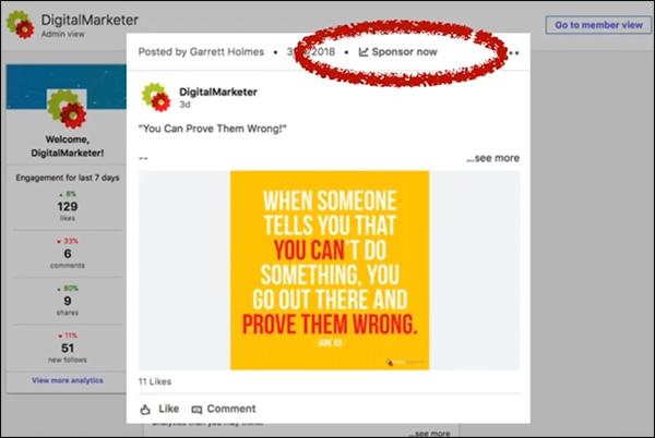 Come sponsorizzare / potenziare un post di successo su LinkedIn