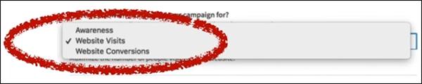 stabilendo l'obiettivo per la tua campagna pubblicitaria di LinkedIn