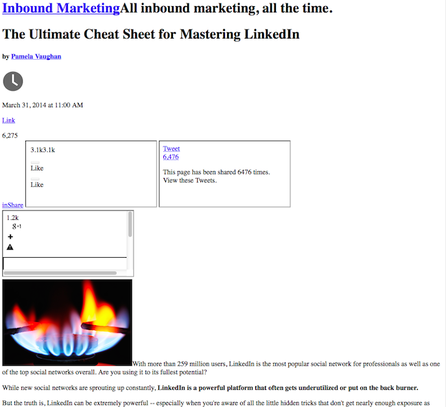 Esempio di HTML senza CSS che risulta in un post del blog HubSpot non formattato