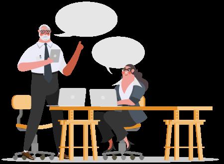Illustrazione di discussione contenuto
