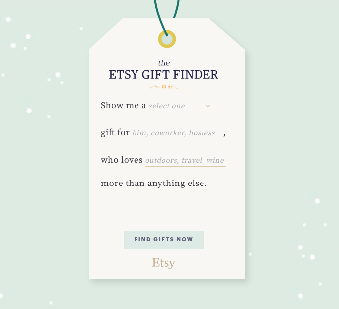 Etsy e Pinterest cercatore di regali