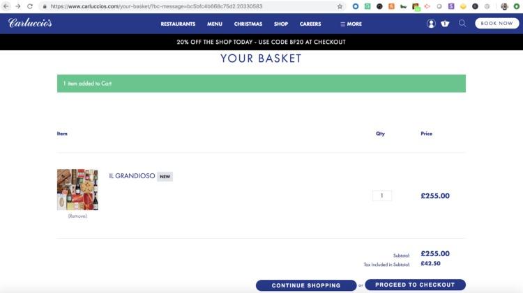 Pagina di controllo senza testa di Carluccios Commerce