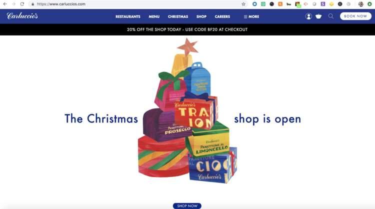 Homepage di Headless Commerce Carluccios