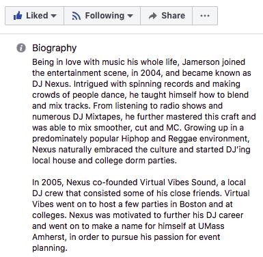 "Una storia sulla pagina aziendale Facebook di DJ Nexus ""width ="" 385 ""height ="" 376 ""style ="" width: 385px; blocco di visualizzazione; margin-left: auto; margin-right: auto; ""srcset ="" https://blog.hubspot.com/hs-fs/hubfs/dj%20nexus%20professional%20bio%20story.png?width=193&height=188&name=dj%20nexus%20professional% 20bio% 20story.png 193w, https://blog.hubspot.com/hs-fs/hubfs/dj%20nexus%20professional%20bio%20story.png?width=385&height=376&name=dj%20nexus%20professional%20bio%20story .png 385w, https://blog.hubspot.com/hs-fs/hubfs/dj%20nexus%20professional%20bio%20story.png?width=578&height=564&name=dj%20nexus%20professional%20bio%20story.png 578w , https://blog.hubspot.com/hs-fs/hubfs/dj%20nexus%20professional%20bio%20story.png?width=770&height=752&name=dj%20nexus%20professional%20bio%20story.png 770w, https: //blog.hubspot.com/hs-fs/hubfs/dj%20nexus%20professional%20bio%20story.png?width=963&height=940&name=dj%20nexus%20professional%20bio%20story.png 963w, https: // blog .hubspot.com / hs-fs / hubfs / dj% 20nexus% 20professional% 20bio% 20story.png? width = 1155 & height = 1128 & name = dj% 20nexus% 20professional% 20bio% 20story.png 1155w ""sizes ="" (larghezza massima: 385px) 100vw, 385px"