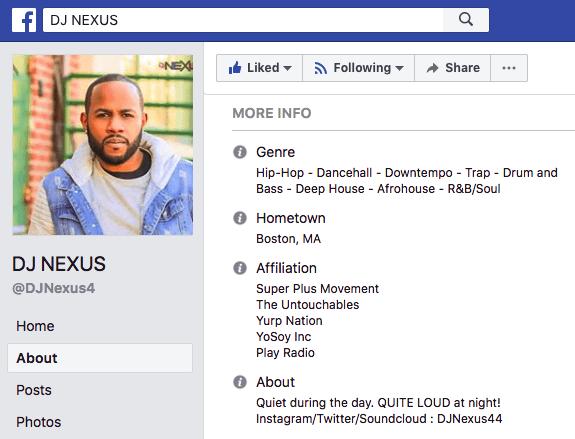 "La biografia professionale di DJ Nexus su Facebook ""width ="" 575 ""height ="" 439 ""style ="" width: 575px; ""srcset ="" https://blog.hubspot.com/hs-fs/hubfs/dj-nexus-professional- bio.png? width = 288 & height = 220 & name = dj-nexus-professional-bio.png 288w, https://blog.hubspot.com/hs-fs/hubfs/dj-nexus-professional-bio.png?width=575&height = 439 & name = dj-nexus-professional-bio.png 575w, https://blog.hubspot.com/hs-fs/hubfs/dj-nexus-professional-bio.png?width=863&height=659&name=dj-nexus- professional-bio.png 863w, https://blog.hubspot.com/hs-fs/hubfs/dj-nexus-professional-bio.png?width=1150&height=878&name=dj-nexus-professional-bio.png 1150w, https://blog.hubspot.com/hs-fs/hubfs/dj-nexus-professional-bio.png?width=1438&height=1098&name=dj-nexus-professional-bio.png 1438w, https: //blog.hubspot .com / hs-fs / hubfs / dj-nexus-professional-bio.png? width = 1725 & height = 1317 & name = dj-nexus-professional-bio.png 1725w ""sizes ="" (larghezza massima: 575px) 100vw, 575px"