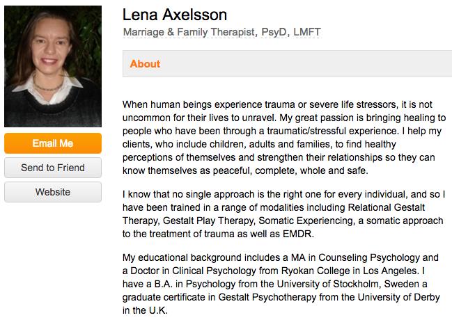 """Biografia professionale di Lena Axelsson su un sito web di settore per terapisti """"width ="""" 640 """"style ="""" width: 640px; """"srcset ="""" https://blog.hubspot.com/hs-fs/hubfs/therapist-bio-example.png ? width = 320 & name = therapist-bio-example.png 320w, https://blog.hubspot.com/hs-fs/hubfs/therapist-bio-example.png?width=640&name=therapist-bio-example.png 640w , https://blog.hubspot.com/hs-fs/hubfs/therapist-bio-example.png?width=960&name=therapist-bio-example.png 960w, https://blog.hubspot.com/hs- fs / hubfs / therapist-bio-example.png? width = 1280 & name = therapist-bio-example.png 1280w, https://blog.hubspot.com/hs-fs/hubfs/therapist-bio-example.png?width = 1600 & name = therapist-bio-example.png 1600w, https://blog.hubspot.com/hs-fs/hubfs/therapist-bio-example.png?width=1920&name=therapist-bio-example.png 1920w """"taglie = """"(larghezza massima: 640px) 100vw, 640px"""