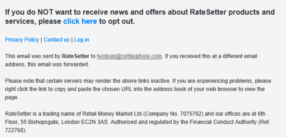 Footer marketing email di RateSetter