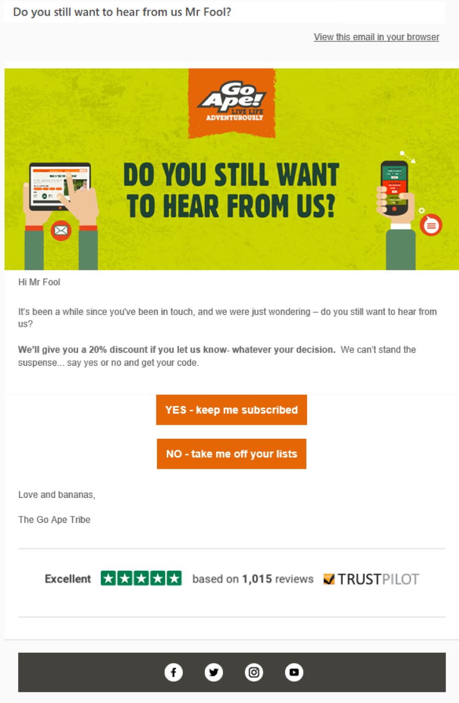 Go Ape email di marketing