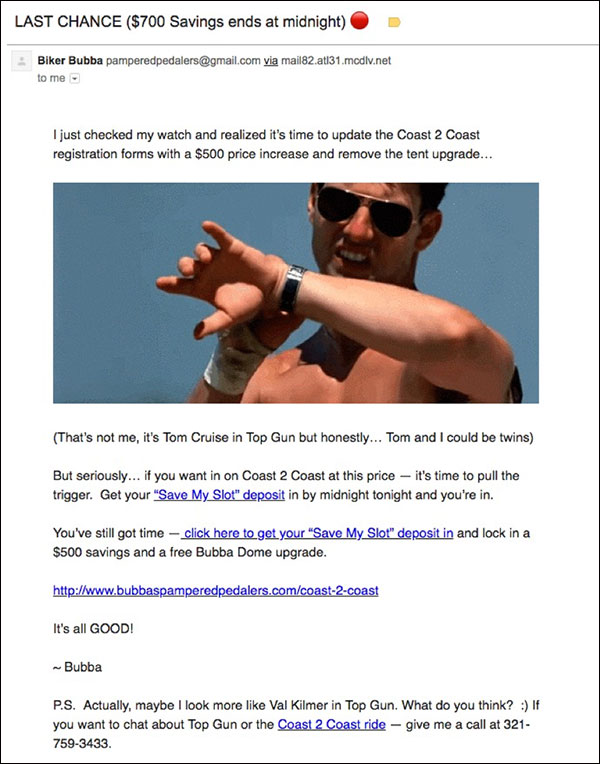 Una delle e-mail di chiusura per Coast 2 Coast che usa l'umorismo e un meme Top Gun