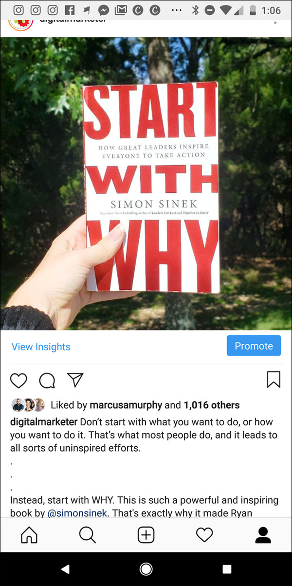 "Foto postata su Instagram di un libro: ""Start With Why"" di Simon Sinek"