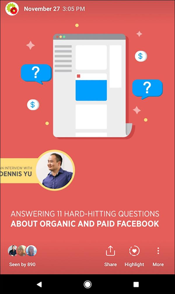 Un esempio di Instagram Story di DigitalMarketer che evidenzia un'intervista con Dennis Yu