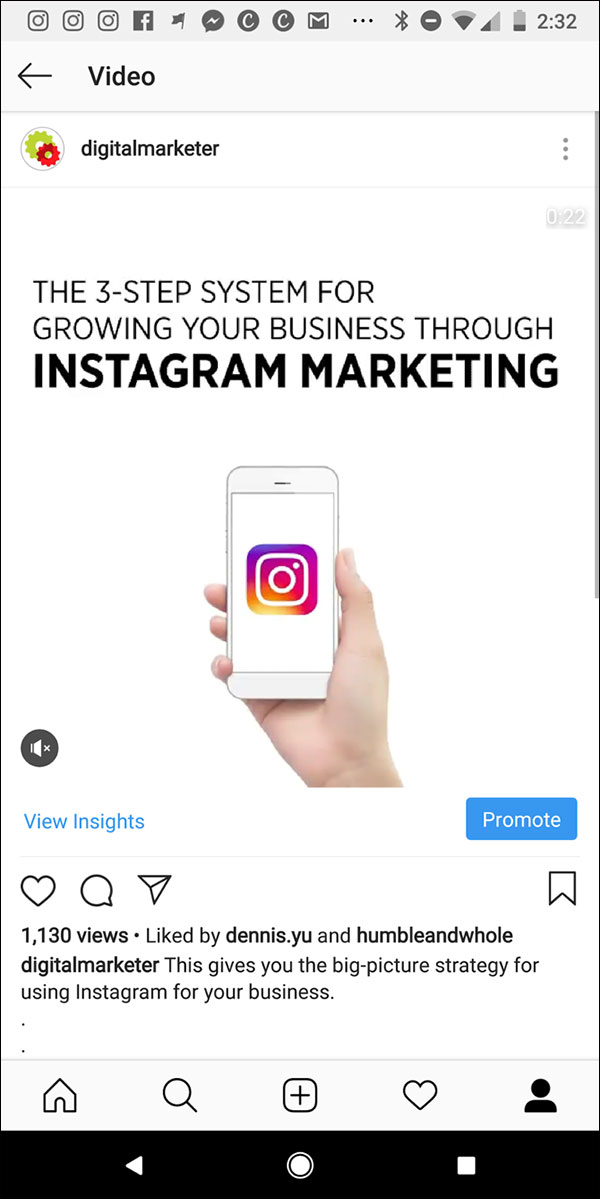 Un esempio di post video di punta su Instagram di DigitalMarketer