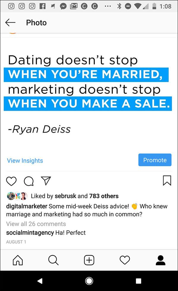 Esempio di citazione di Instagram da Ryan Deiss: gli appuntamenti non si fermano quando sei sposato, il marketing non si ferma quando fai una vendita.