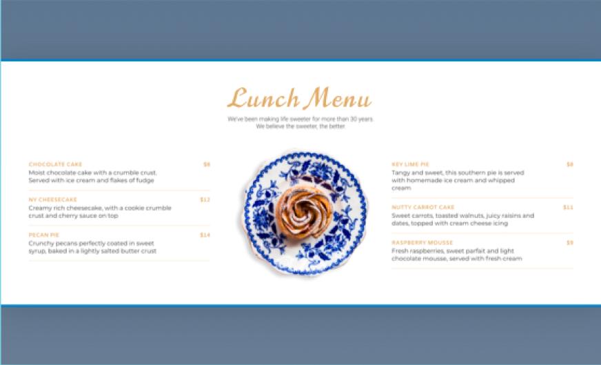 Esempio di menu pranzo personalizzato