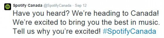 SPOTIFY CANADA NUOVO MERCATO 20141025 TWITTER 12 SEP A