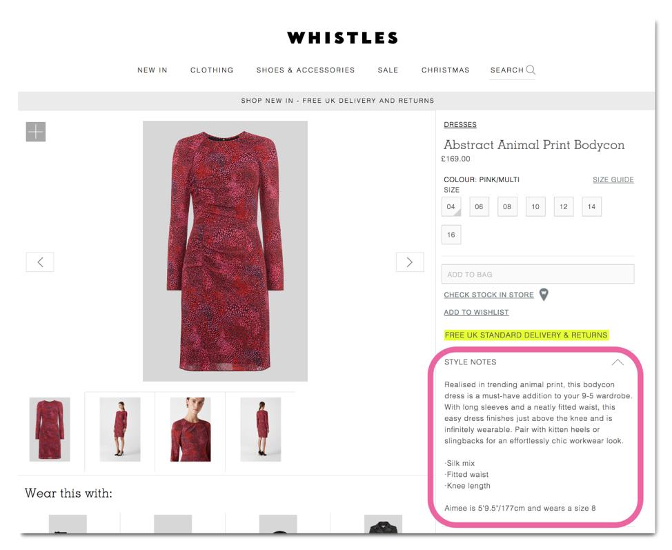 Esempio di descrizione del prodotto di Whistles
