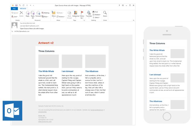"""Modelli di newsletter email gratuiti di Antwort """"title ="""" Antwort Email Newsletter Templates"""