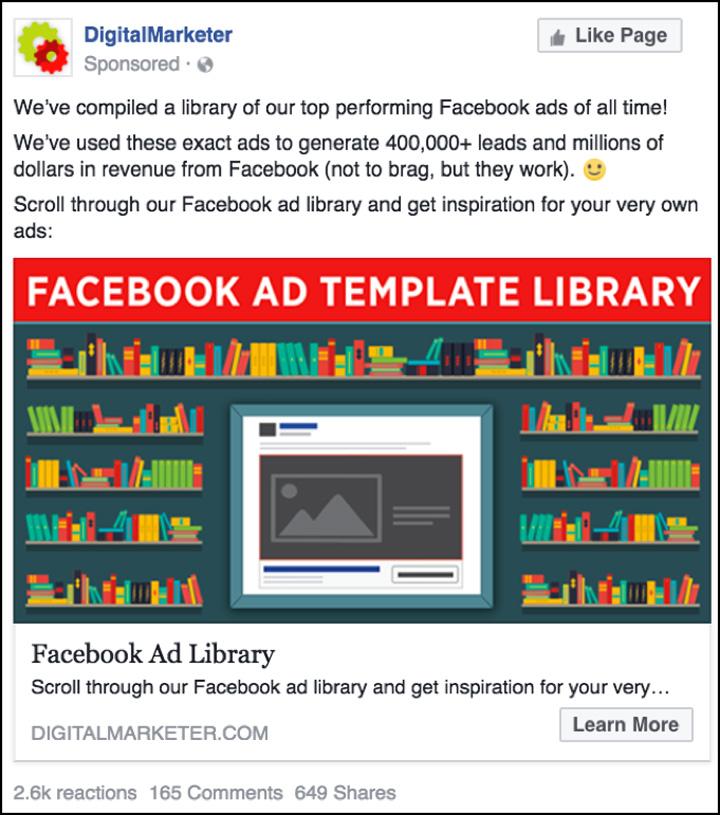 DigitalMarketer Facebook per i nostri modelli di annunci di Facebook