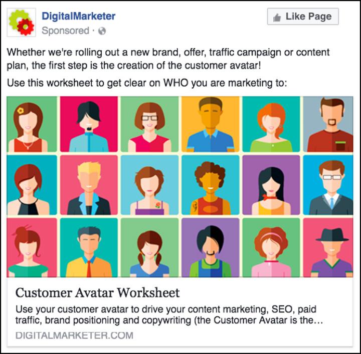 DigitalMarketer Facebook per il foglio di lavoro Avatar