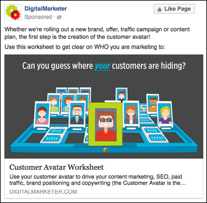 DigitalMarketer Facebook ad ispirato da Indovina chi? gioco