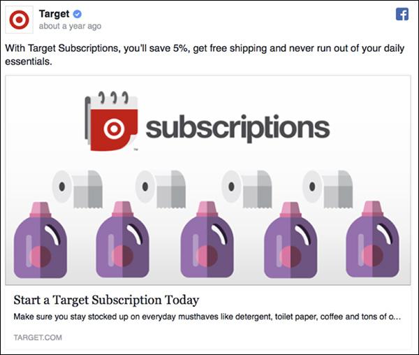 Annuncio di Facebook da Target