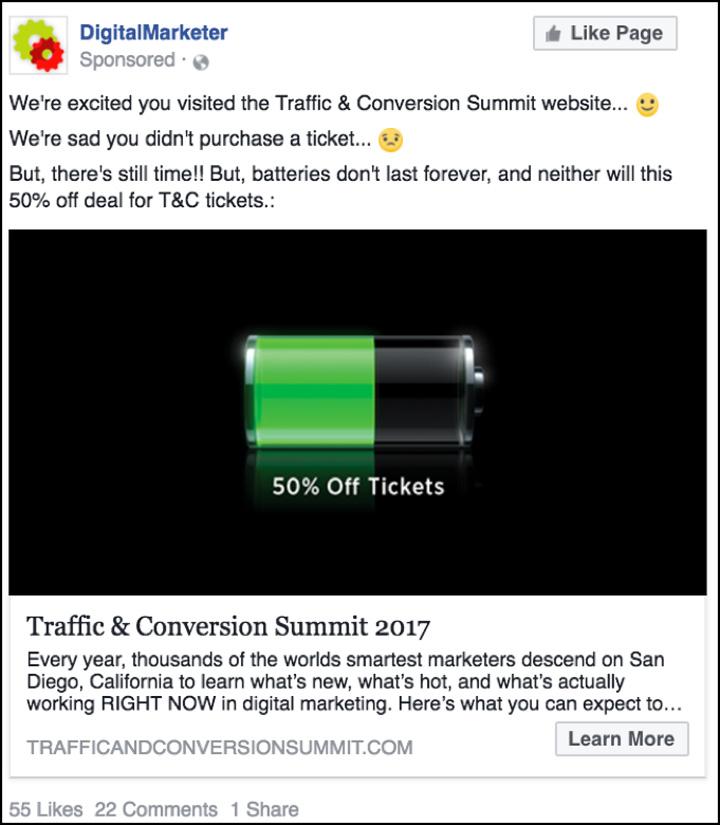 Traffic & Conversion Facebook tre settimane prima dell'aumento del prezzo