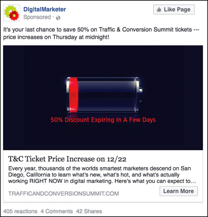 Traffico e conversione di annunci Facebook una settimana prima dell'aumento del prezzo