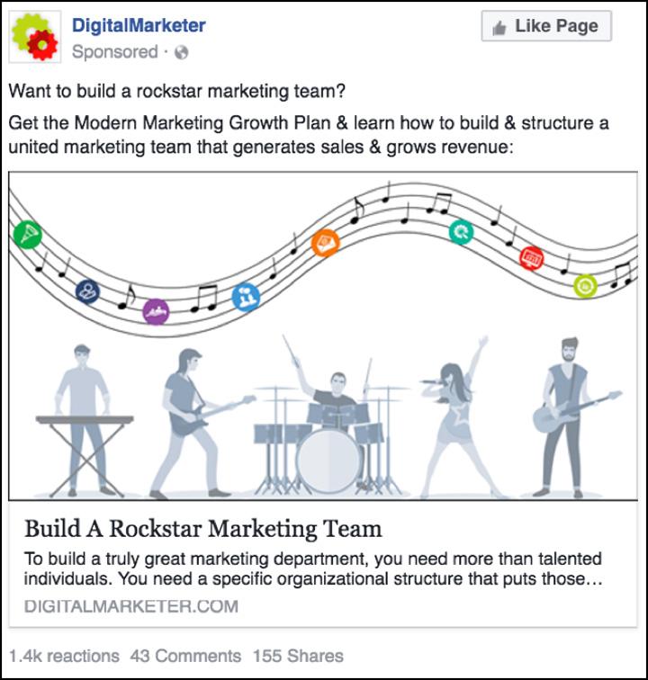 "Annuncio Facebook ""The Modern Marketing Growth Plan"""
