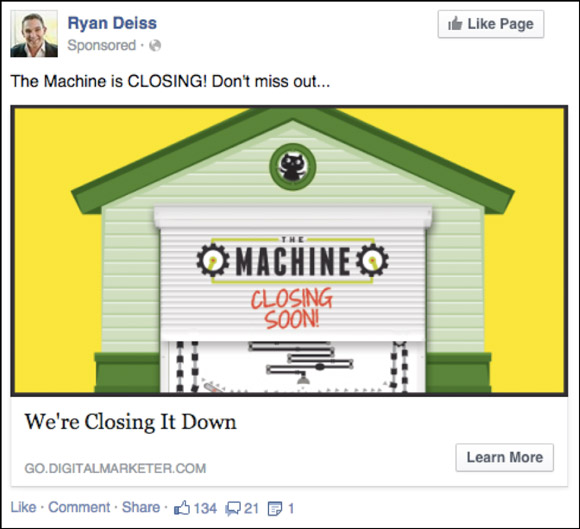 Facebook Retargeting Ad to a High-Dollar Product