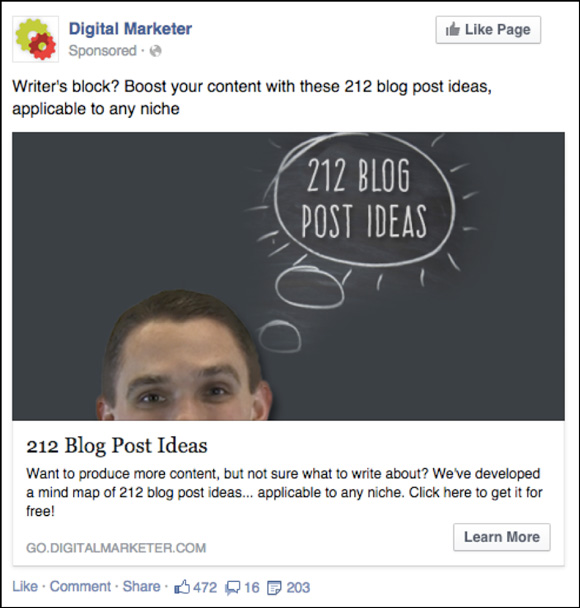 Facebook Ad to 212 Blog Post Ideas Lead Magnet