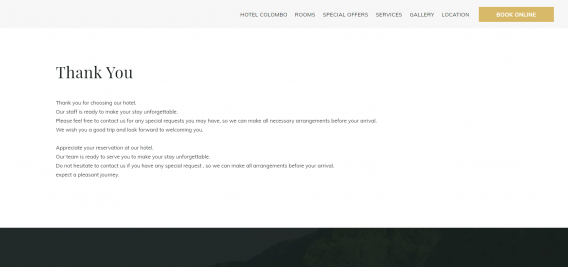 pagina di conferma dell'hotel