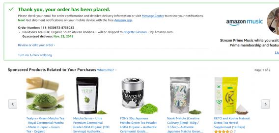 pagina di ringraziamento di Amazon