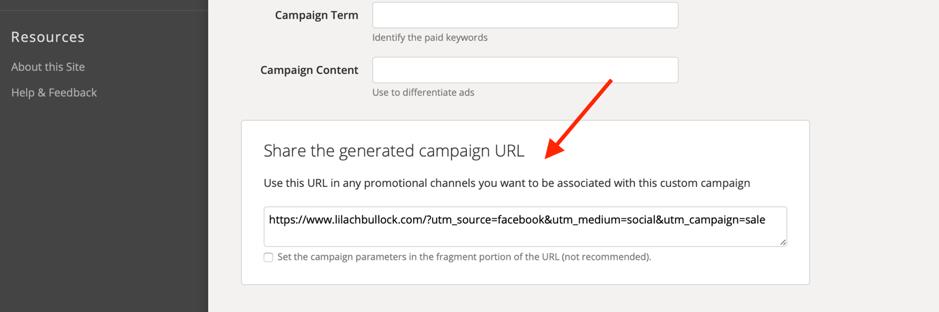 Esempio di generatore di URL della campagna