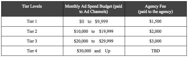 Modelli di prezzi di agenzia PPC tiered pricing