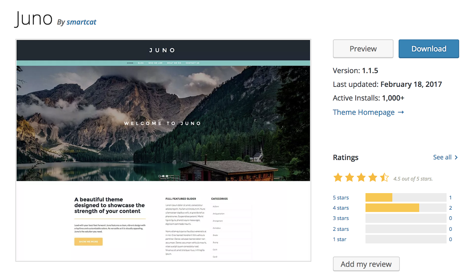 JUNO-wordpress-tema
