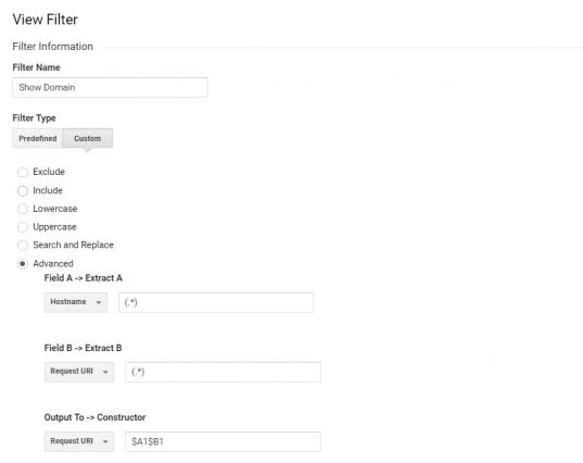 filtro personalizzato per mostrare il nome del dominio