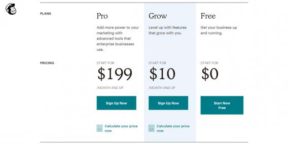 pagina dei prezzi mailchimp