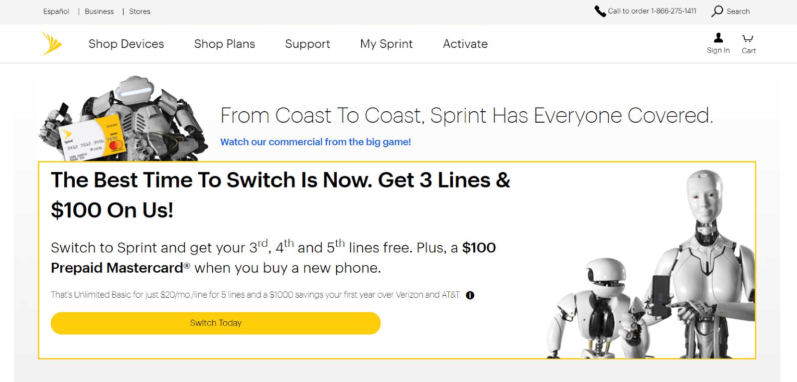passare alla homepage di sprint