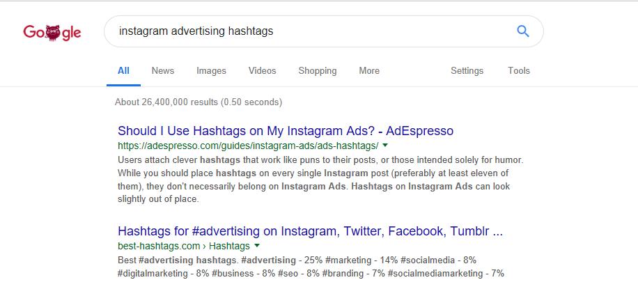 Ricerca sulla strategia di Instagram Hashtags 1