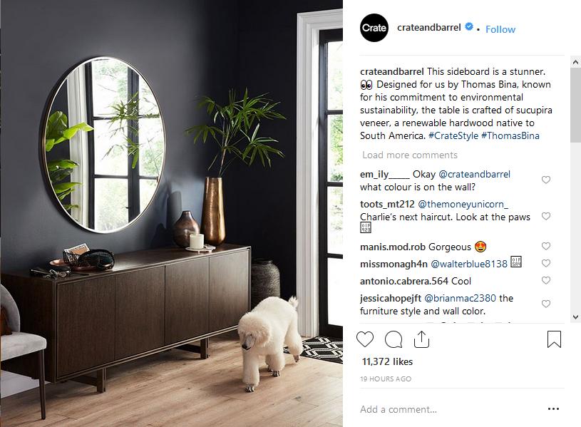 Hashtag di Instagram Crate & Barrel