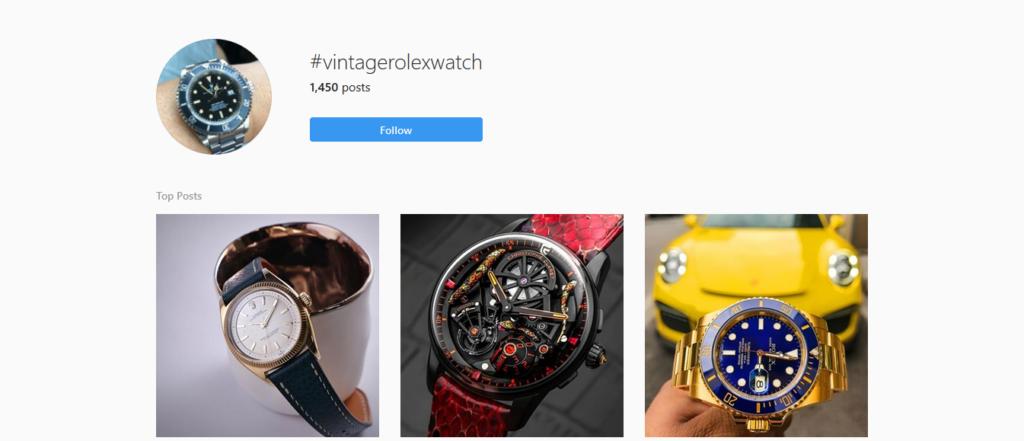 Hashtag di strategia orologi Rolex di Instagram